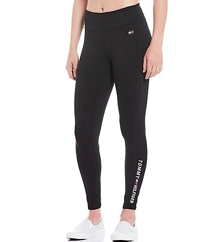 Tommy Hilfiger Sport Mid Rise Full Length Logo Jersey Cotton Blend Legging