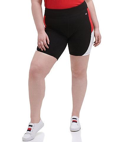 Tommy Hilfiger Sport Plus Size High Rise Curve Color Block 9#double; Active Bike Short