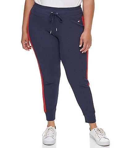 Tommy Hilfiger Sport Plus Size High Rise Full Length Logo Joggers
