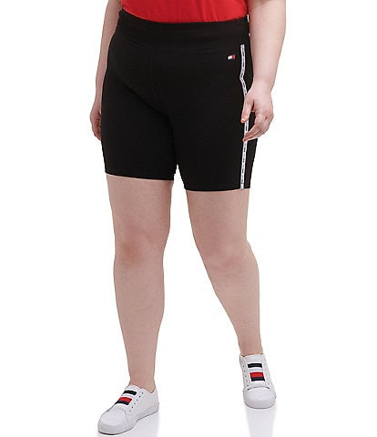 Tommy Hilfiger Sport Plus Size High Rise Full Length Logo Taping 9#double; Active Biker Shorts