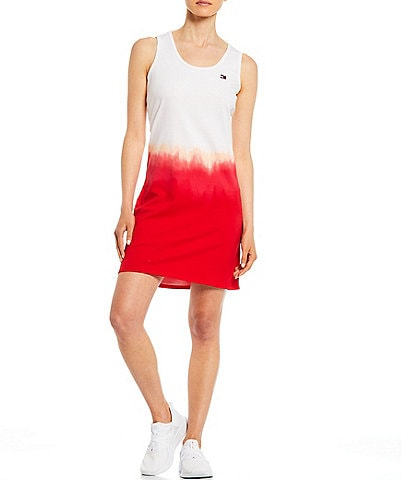 Tommy Hilfiger Sport Printed Ombre Back Cut Out Tank Dress