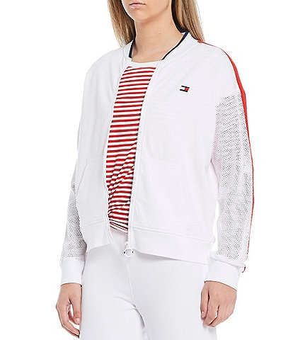 Tommy Hilfiger Sport Sprint Mesh Zip Front Long Sleeve Bomber Jacket