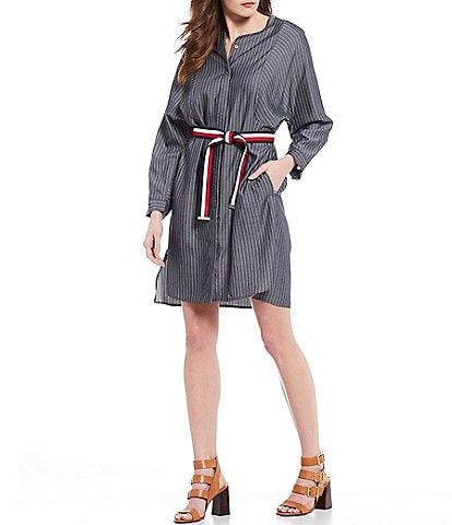 Tommy Hilfiger Stripe Twill 3/4 Sleeve Hidden Button Front Belted Shirt Dress