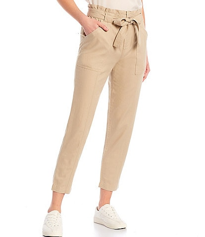 Tommy Hilfiger Tie Waist Twill Ankle Pant
