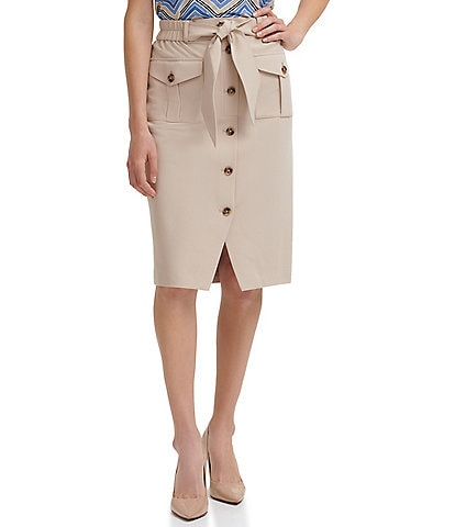 Tommy Hilfiger Twill Utility Tie Front Button Pencil Skirt
