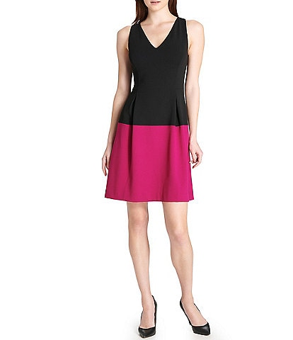 Tommy Hilfiger V-Neck Sleeveless Colorblock Fit & Flare Dress