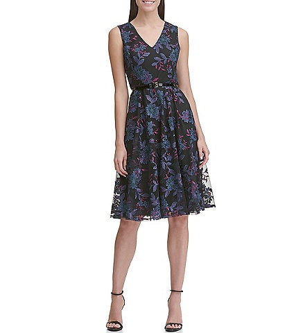 Tommy Hilfiger V-Neck Sleeveless Floral Mesh Belted Lace Fit & Flare Dress