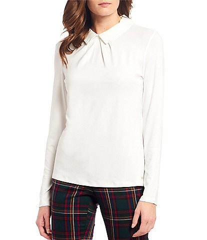 Tommy Hilfiger Woven Collar Knit Jersey Long Sleeve Top