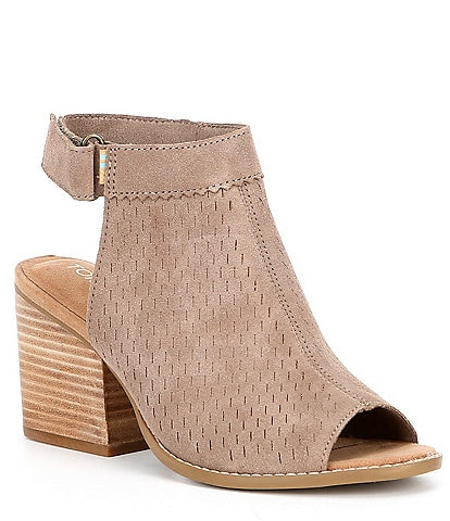 TOMS Grenada Perforated Suede Peep-Toe Block Heel Booties