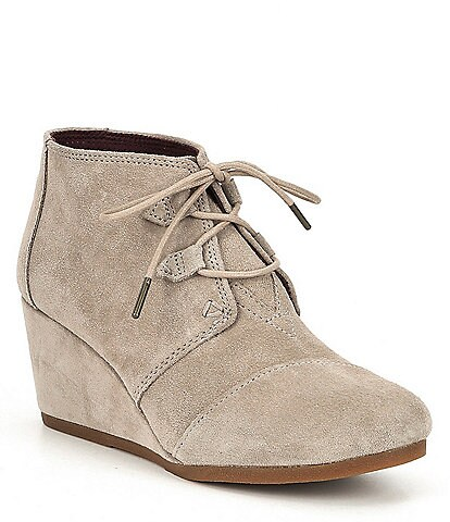 TOMS Kala Suede Lace Up Wedge Booties