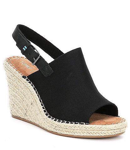 789ffce4924 TOMS Monica Canvas Wedge Espadrille Sandals