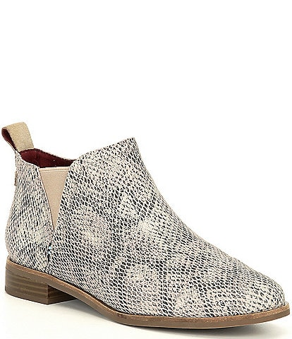 TOMS Reese Snake Print Suede Ankle Booties