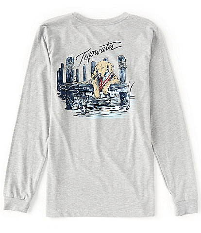 Topwater Dog on Dock Long-Sleeve Graphic T-Shirt
