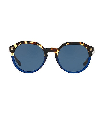 Tory Burch Vintage Tortoise Colorblock Round Sunglasses
