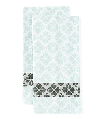 Town & Country Spade Flower Icy Aqua Dish Towels, Set of 2