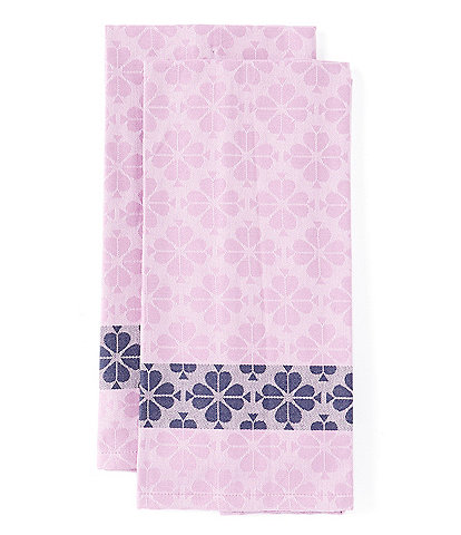 Town & Country Spade Flower Purple Shade Dish Towels, Set of 2