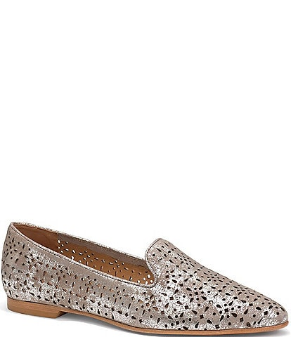 Trask Farrah Perforated Metallic Suede Loafers