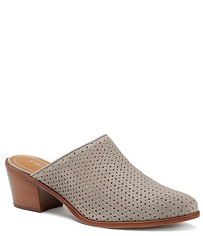 Trask Teresa Diamond Perforated Suede Block Heel Mules