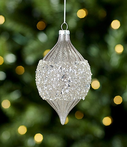 Trimsetter All Is Calm Collection Silver Beaded Purple Drop Ornament