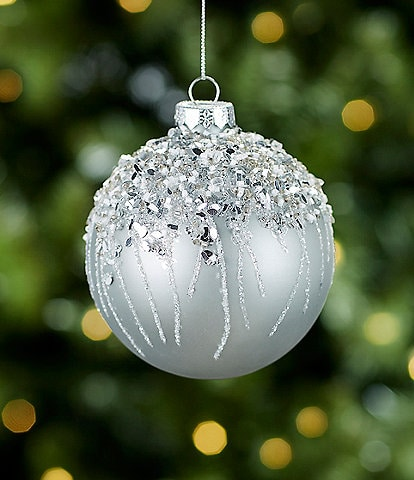 Trimsetter All Is Calm Collection Silver Icicle Ball Ornament