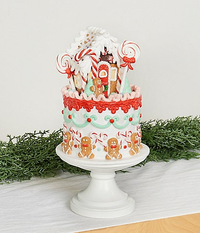 Trimsetter Baking Spirits Bright Collection LED Lighted Gingerbread House Cake Tabletop Decor