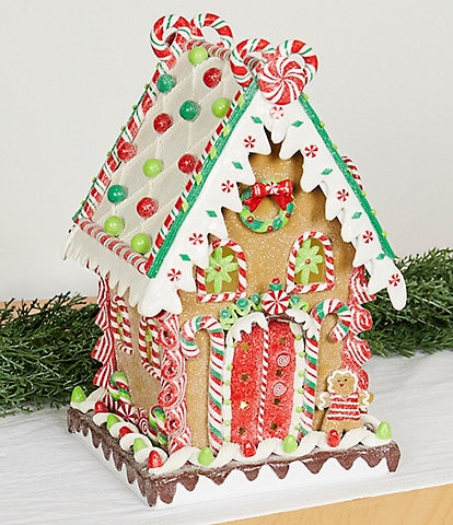 Trimsetter Baking Spirits Bright Collection LED Lighted Peppermint Twist Gingerbread House Tabletop Decor