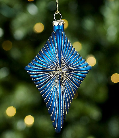 Trimsetter Holiday DECOdence Collection Blue Diamond Glass Ornament