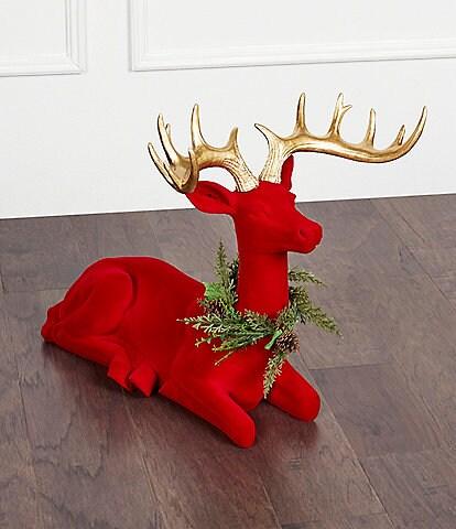Trimsetter Holiday DECOdence Collection Red Velvet Sitting Deer Decor