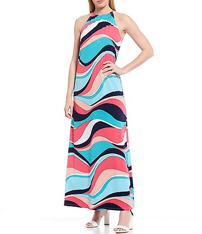 trina Trina Turk Halter Neck Multi Stripe Printed Maxi Dress