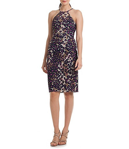 trina Trina Turk Leopard Print Lace Sheath Dress