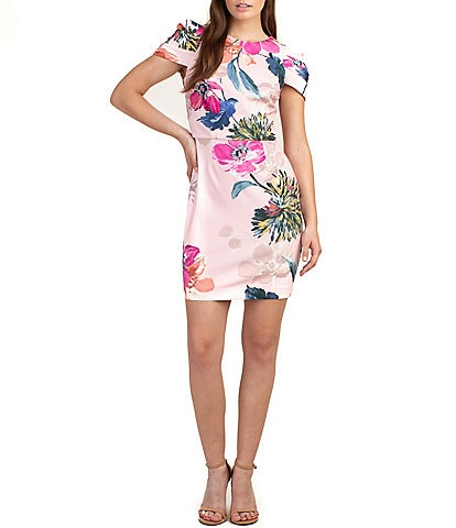 trina Trina Turk Puff Sleeve Floral Print Scuba Sheath Dress