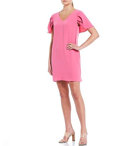 trina Trina Turk Sidewalk Puff Sleeve Crepe Shift Dress