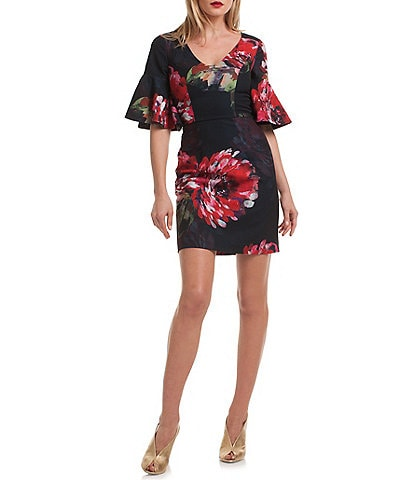 trina TRINA TURK V-Neck Floral Print Mini Dress