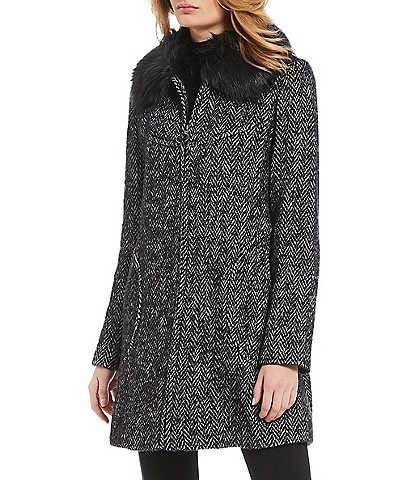 Trina Turk Alex Herringbone Faux Fur Collar Swing Coat