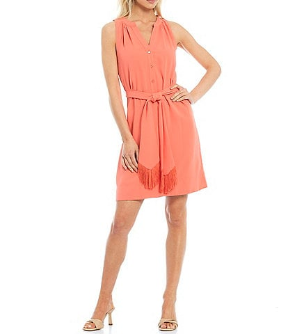 Trina Turk Anemones V-Neck Fringe-Belt Sleeveless Dress
