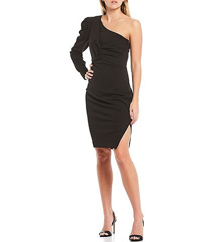 Trina Turk Asymmetric One Shoulder Puffed Sleeve Gathered Waist Bodycon Dress