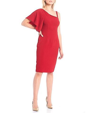 Trina Turk Asymmetrical Neck One Shoulder Flutter Short Sleeve Sheath Upbeat Dress