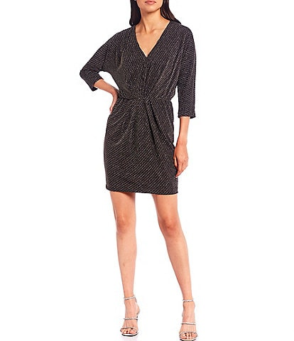 Trina Turk Birch Metallic V-Neck 3/4 Sleeve Sheath Dress