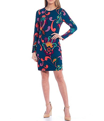 Trina Turk Camellia Paisley Print Long Sleeve Sheath Dress