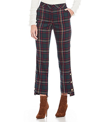 Trina Turk Churchill Plaid Cropped Straight Leg Pants