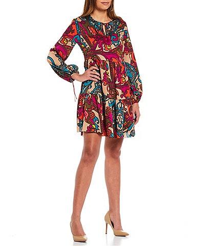 Trina Turk Colorful Paisley Print Tassel Tie Split Round Neck Long Balloon Sleeve Tiered Dress
