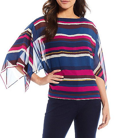 Trina Turk Colorful Stripe Print Boat Neck Handkerchief-Sleeve Mourvedre Top