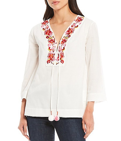 Trina Turk Costa Rica Woven Embroidered V-Neck 3/4 SleeveTop