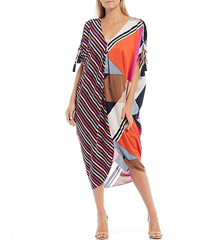 Trina Turk Crawford Mix Print V-Neck Caftan Midi Dress
