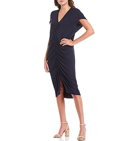 Trina Turk Dawn Shirred Front V-Neck Short Sleeve Dress