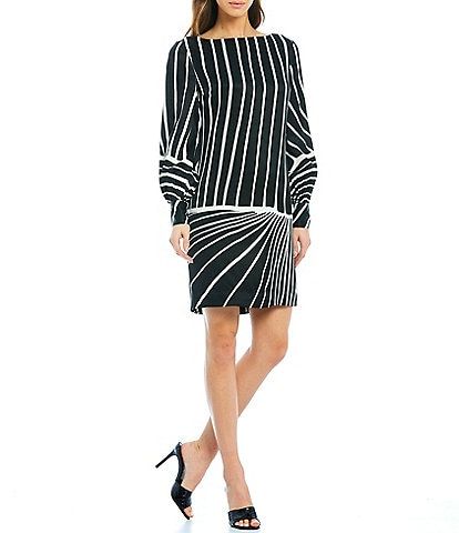 Trina Turk Decor Stripe Placed Print Bateau Neck Balloon Sleeve Dress
