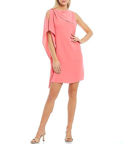 Trina Turk Ellyson Asymmetrical Neckline Side Ruffle Flounce Sleeveless Shift Dress