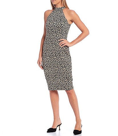 Trina Turk Emotion Cheetah Print Halter Neck Sheath Dress