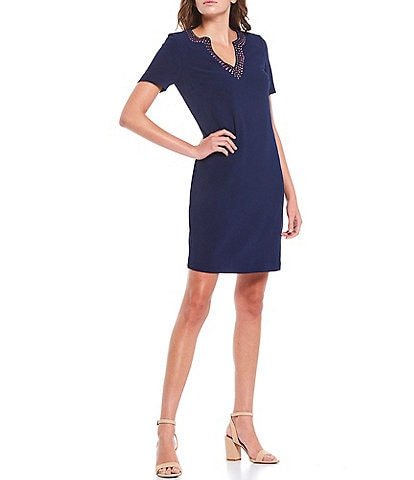 Trina Turk Heatwave V-Neck Short Sleeve Sheath Dress