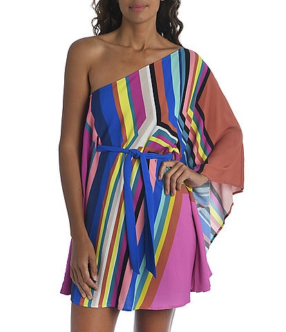 Trina Turk Illusions Stripe Belted One Shoulder Swim Cover Up Dress